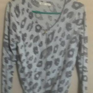 Leappord print grey zip up carnigan